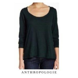 Anthropologie | Bordeaux Green Soft 3/4 Sleeve XS